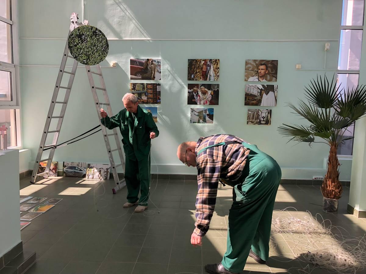 Монтаж выставки фотографа Ольги Титовой в Дарвиновском музее